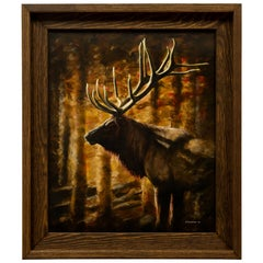 Serenity Bull Elk Original Acrylic Painting by D. Meister