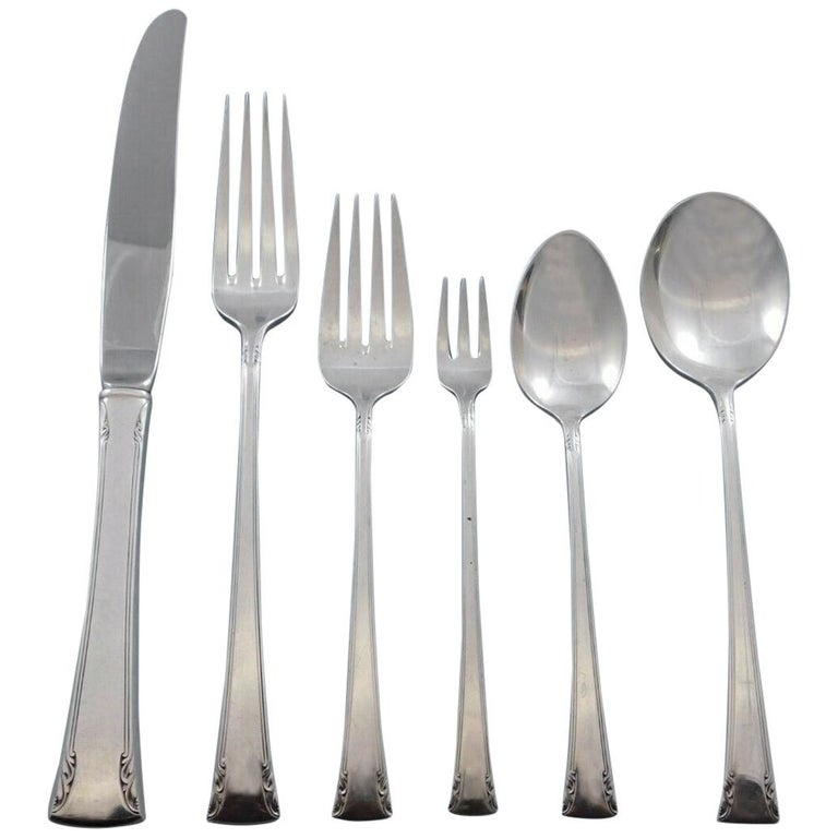 Serenity by International Sterling Silver Flatware Set 12 Service 74Pc Dinner For Sale