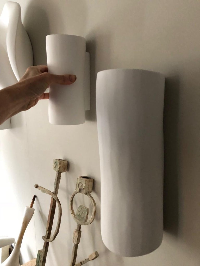 Serenity Contemporary Wall Sconce, Wall Light, White Plaster, Hannah Woodhouse For Sale 5