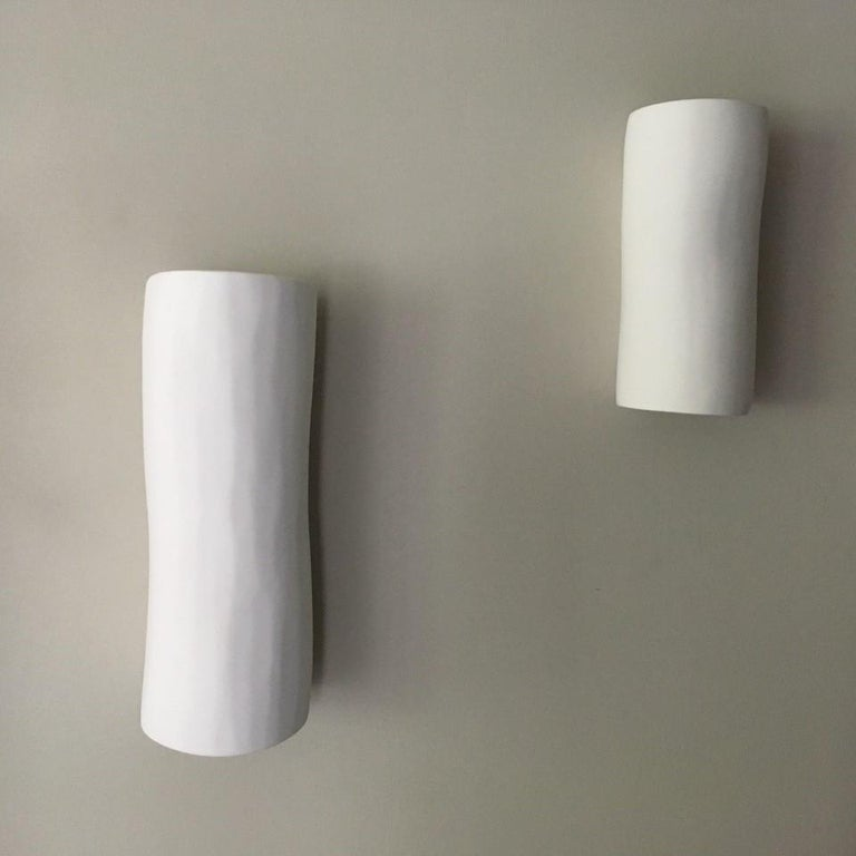 Serenity Contemporary Wall Sconce, Wall Light, White Plaster, Hannah Woodhouse For Sale 3
