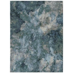 Serenity Lake Contemporary Art Hand-Knotted Wool and Silk 8 x 10ft Rug