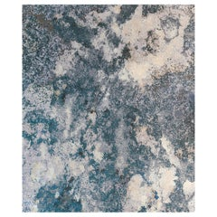 Serenity Lake, Designer Contemporary Hand Knotted Wool Silk Rug