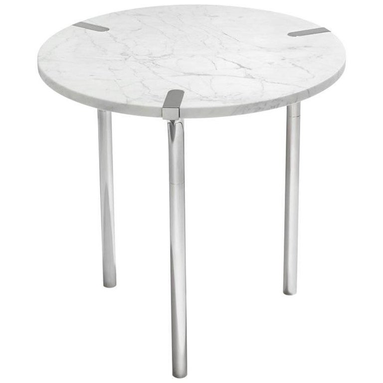 Sereno Side Table or End Table in Carrara Marble and Polished Silver, in Stock For Sale