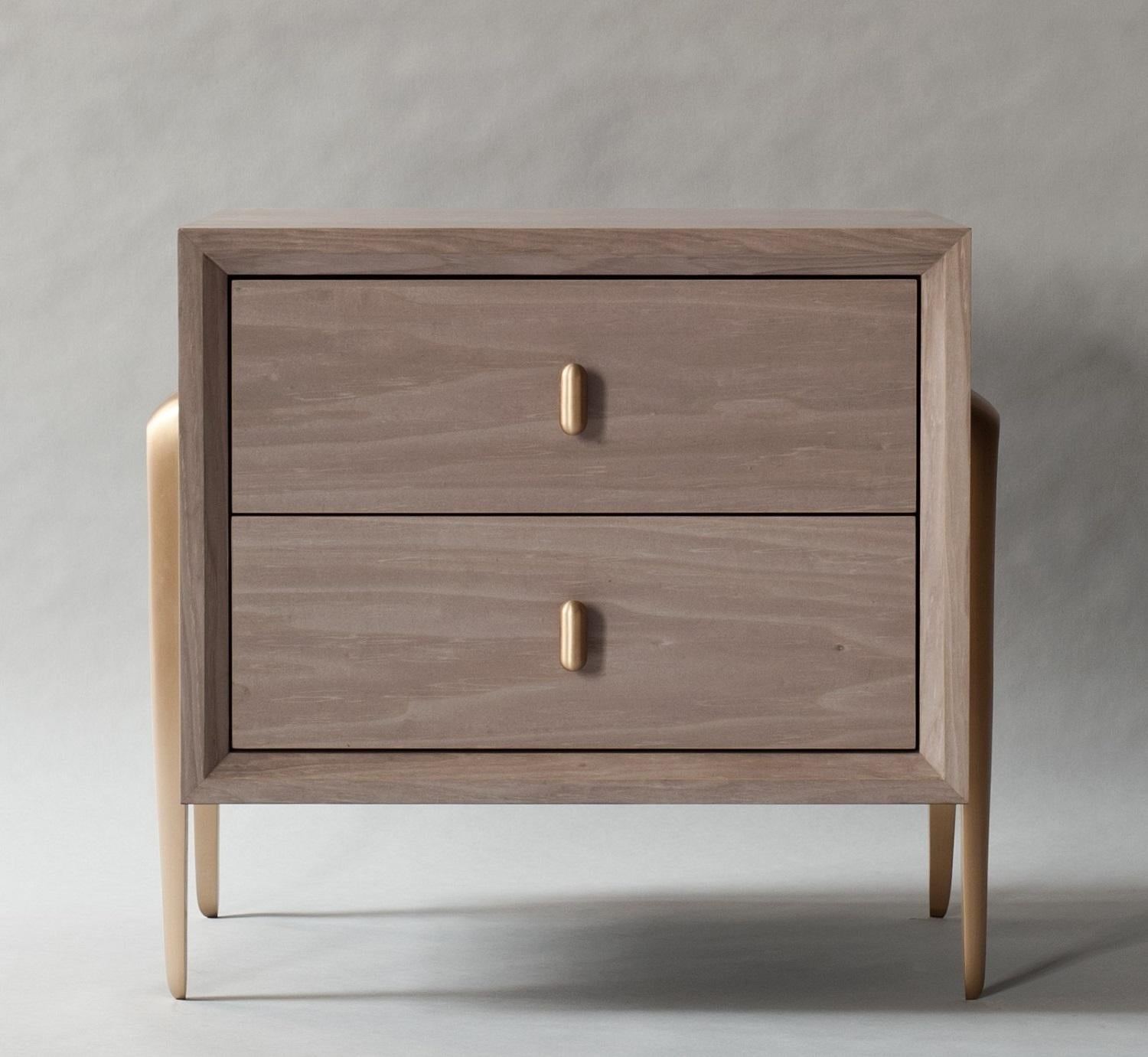 Serge Bedside Table By Demuro Das In Matte Light Grey Tulip With Bronze Legs