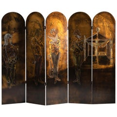 Serge Damon, Mid-Century Folding Screen, Gilt and Lacquered Wood, France, 1950