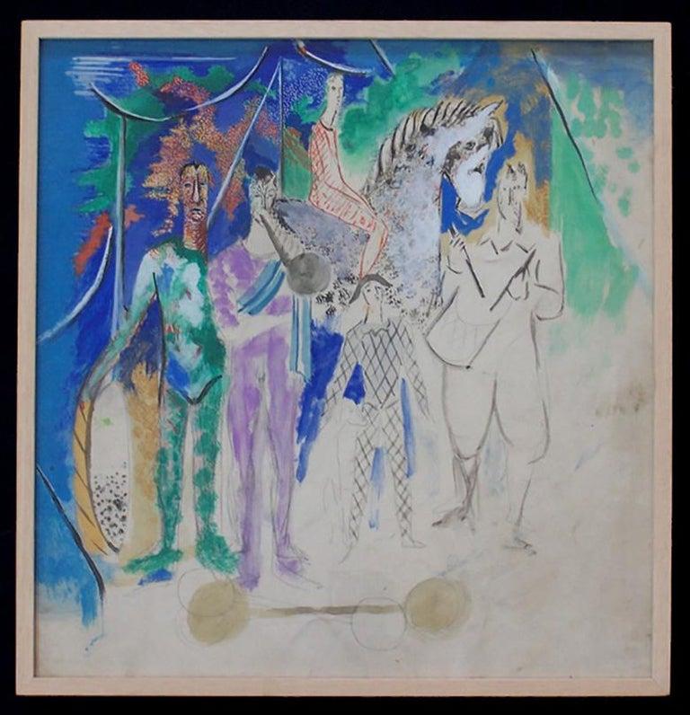 The Circus Parade - Cubist Painting by Serge Ferat (Sergei Nicolaevitch Comte de Jastrebtsov)