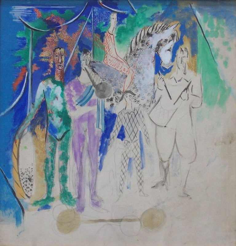 The Circus Parade - Painting by Serge Ferat (Sergei Nicolaevitch Comte de Jastrebtsov)