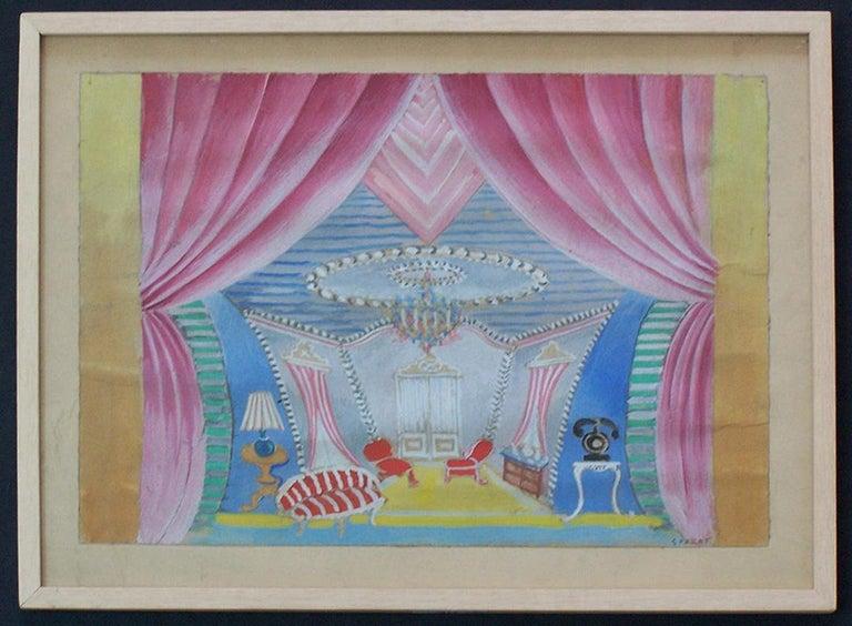Theater Interior Design - Painting by Serge Ferat (Sergei Nicolaevitch Comte de Jastrebtsov)