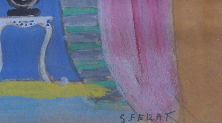Theater Interior Design - Cubist Painting by Serge Ferat (Sergei Nicolaevitch Comte de Jastrebtsov)