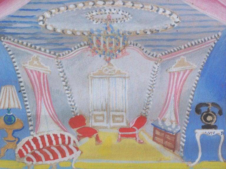 Theater Interior Design - Gray Interior Painting by Serge Ferat (Sergei Nicolaevitch Comte de Jastrebtsov)