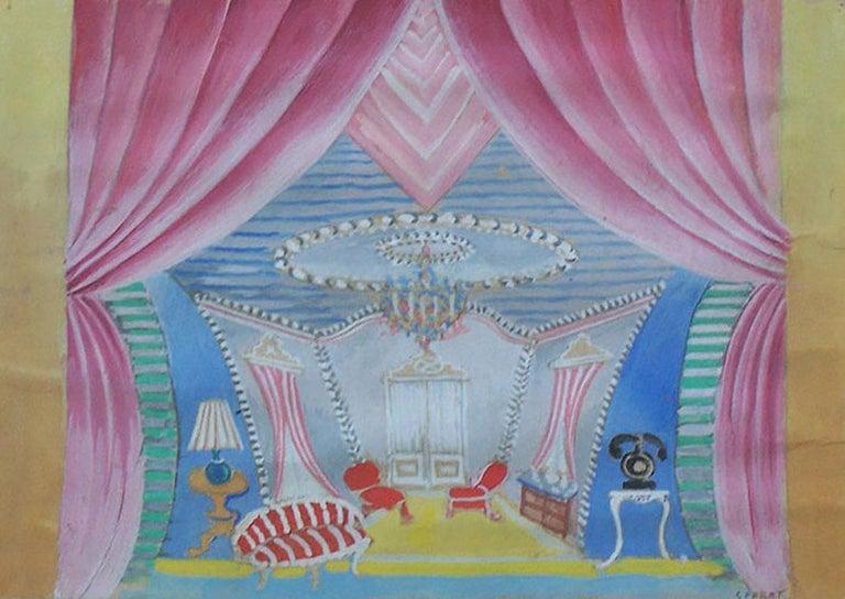 Serge Ferat (Sergei Nicolaevitch Comte de Jastrebtsov) Interior Painting -  Theater Interior Design