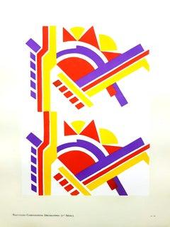 Serge Gladky - Art Deco Colorful Composition - Original Pochoir