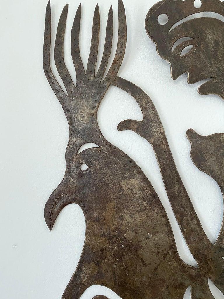 Serge Jolimeau, Haitian Outsider Folk Art Beaten Metal Wall Plaque In Good Condition For Sale In Somerton, GB