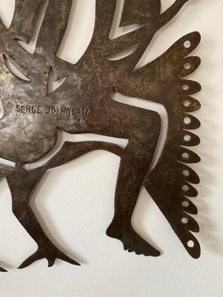 20th Century Serge Jolimeau, Haitian Outsider Folk Art Beaten Metal Wall Plaque For Sale