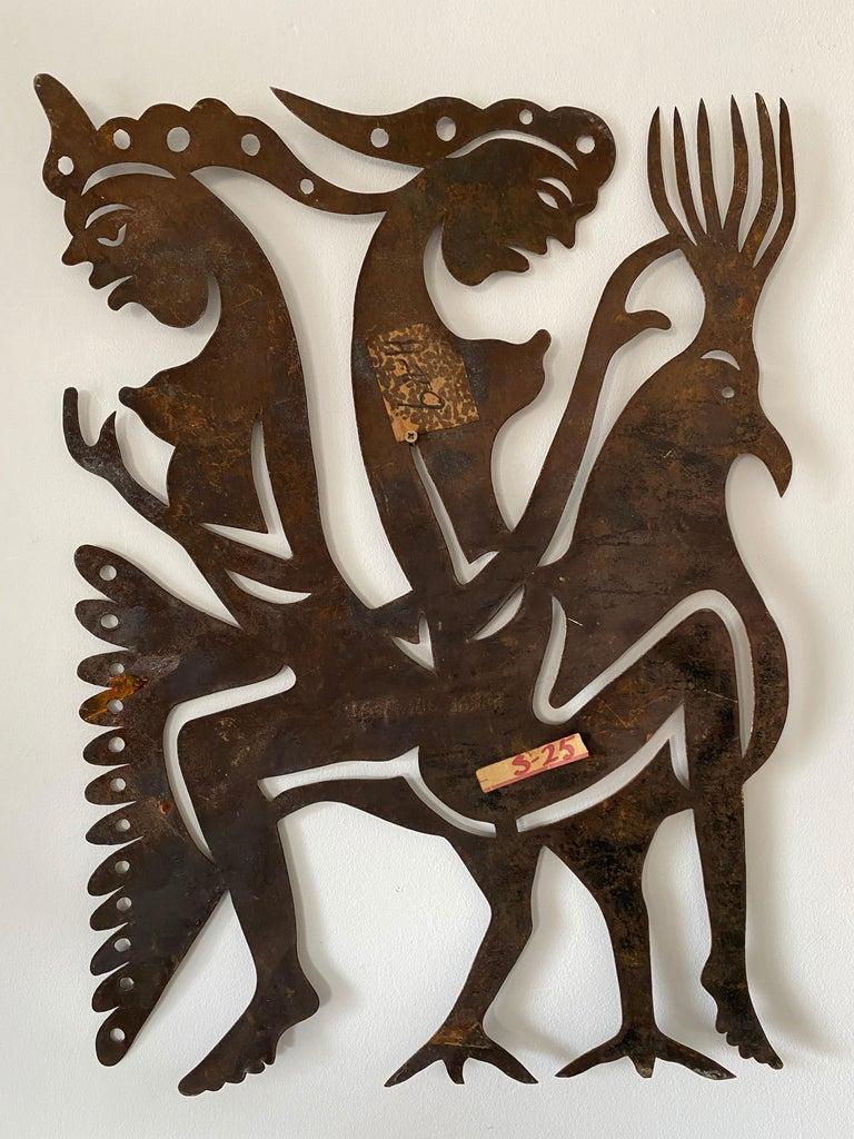 Serge Jolimeau, Haitian Outsider Folk Art Beaten Metal Wall Plaque For Sale 1