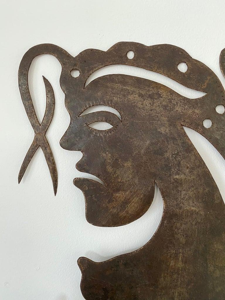 Hammered Serge Jolimeau, 'Siren', an Outsider Folk Art Haitian Wall Art Plaque For Sale