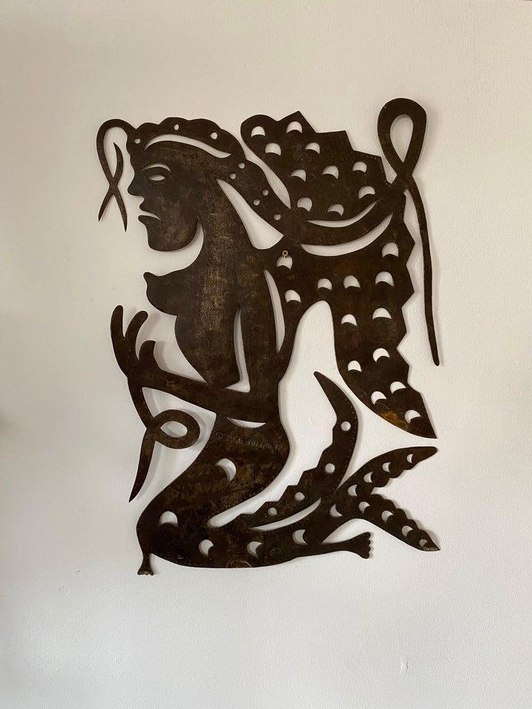 Serge Jolimeau, 'Siren', an Outsider Folk Art Haitian Wall Art Plaque In Good Condition For Sale In Somerton, GB