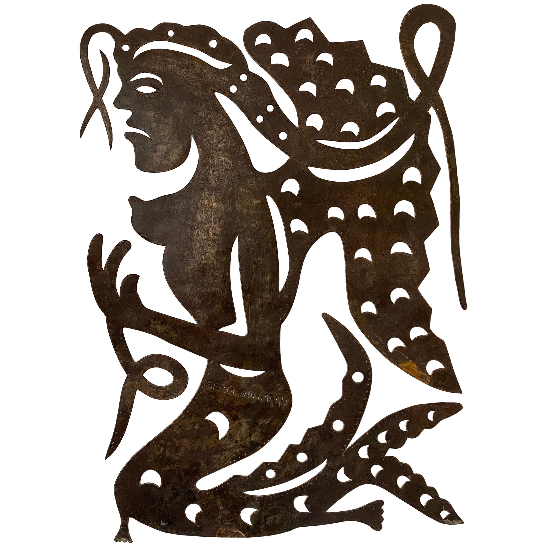 Serge Jolimeau, 'Siren', an Outsider Folk Art Haitian Wall Art Plaque