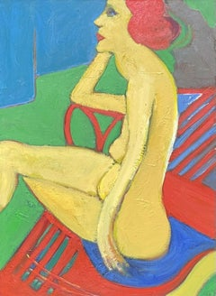LARGE FRENCH MODERNIST OIL - NUDE LADY SEATED MODELLING FOR ARTIST