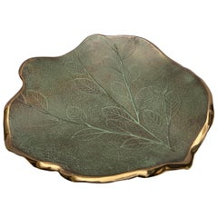 Serge Mansau, Large Dish in Bronze and Green Patina, 1990