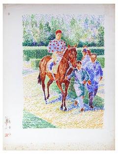 Jockey no. 9  On Horseback - Original Lithograph by S. Mendjisky - 1970s