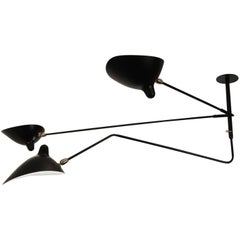 """Serge Mouille Black """"Suspension"""" Two Fixed and One Rotating Curved Arm Lamp"""