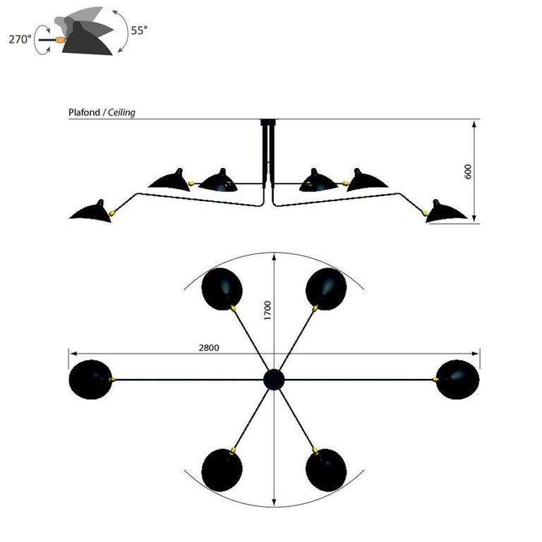 Ceiling lamp six rotating arms designed by Serge Mouille in 1958.  Measurements: 280 x 170 x h60 cm 110.2 x 66.9 x 23.6 H inches.  Given the rarity of Serge Mouille lamps, in 1999 his widow Gin decided to introduce a series of number limited