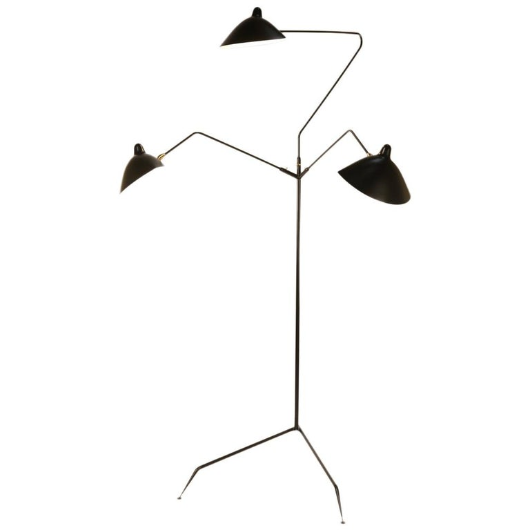 Serge Mouille Brass and Black Aluminum Mid-Century Modern Floor Lamp Three-Arms For Sale