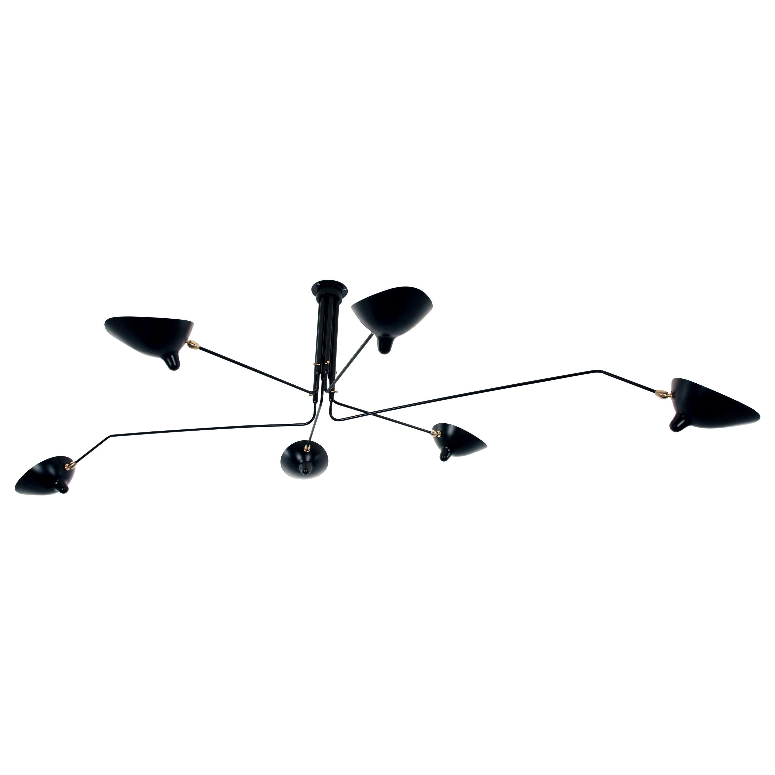 Serge Mouille Ceiling Lamp 6 Rotating Arms in Black or White