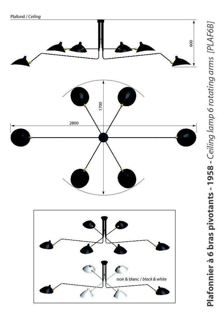 French Serge Mouille Ceiling Pendant Lamp 6 Rotating Arms in Black and White for Sognot For Sale