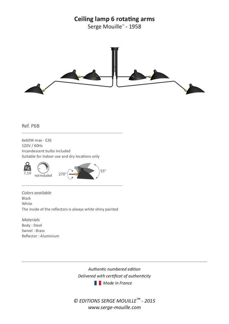 Serge Mouille Ceiling Pendant Lamp 6 Rotating Arms in Black and White for Sognot In Excellent Condition For Sale In London, GB