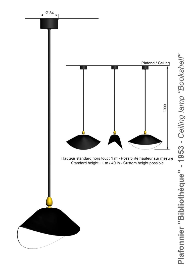 Mid-20th Century  Serge Mouille curved Pendant Ceiling lamp