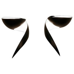 Serge Mouille Mid-Century Modern Black Flame Wall Lamps Set