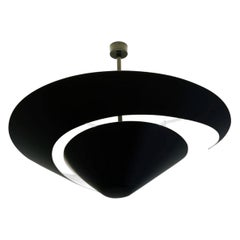 Serge Mouille Mid-Century Modern Black Large Snail Ceiling Wall Lamp