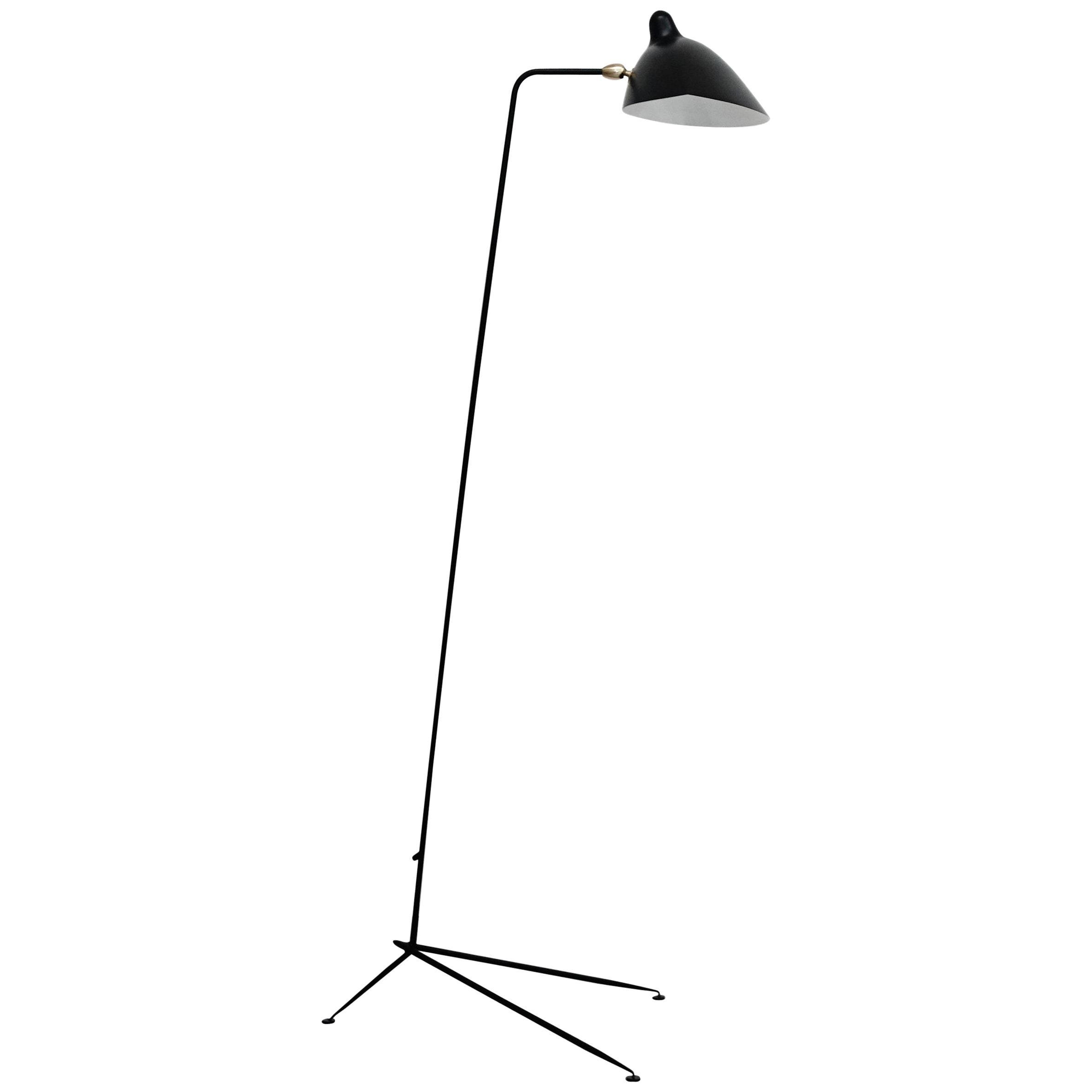 Serge Mouille Mid-Century Modern Black One-Arm Standing Lamp