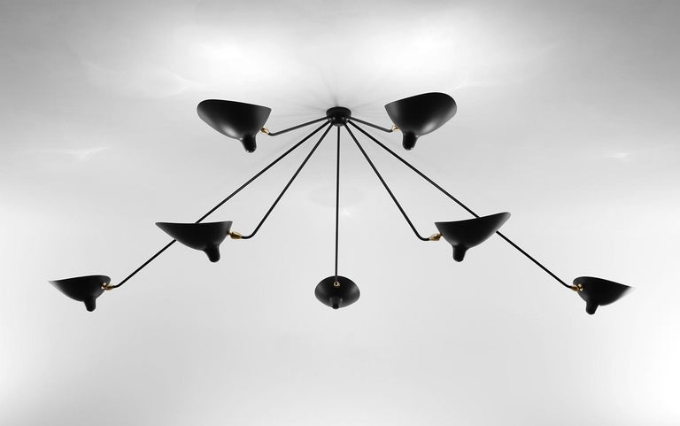 Ceiling wall lamp model 'Seven Fixed Arms Spider Ceiling Lamp' designed by Serge Mouille in 1953.  Manufactured by Editions Serge Mouille in France. The production of lamps, wall lights and floor lamps are manufactured using craftsman's techniques