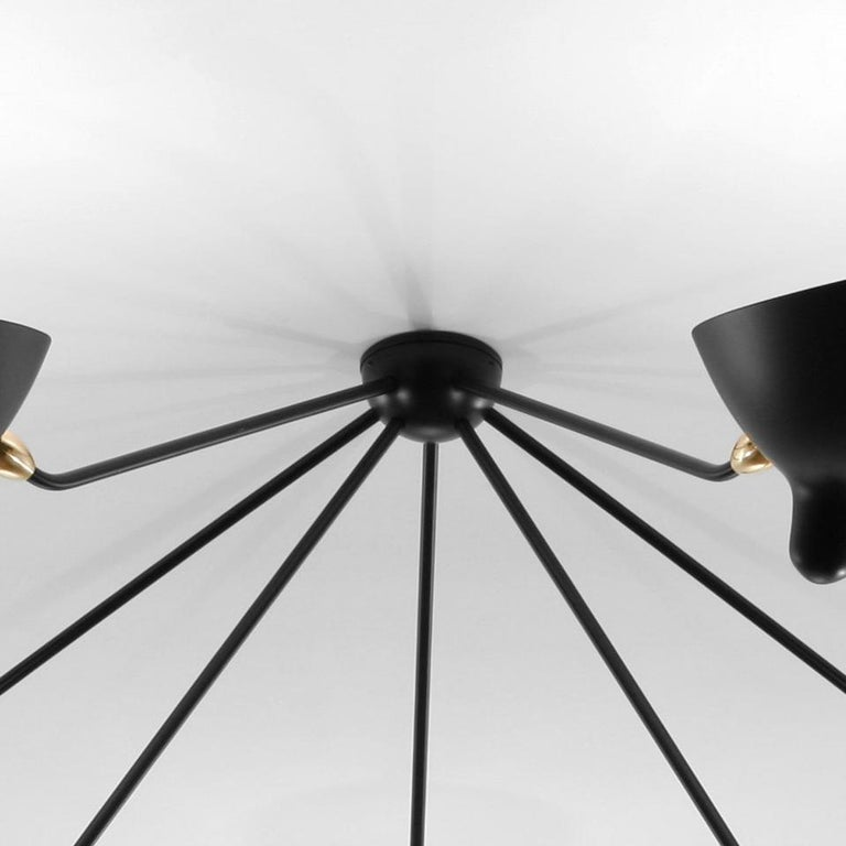 Contemporary Serge Mouille Mid-Century Modern Black Seven Fixed Arms Spider Ceiling Lamp For Sale