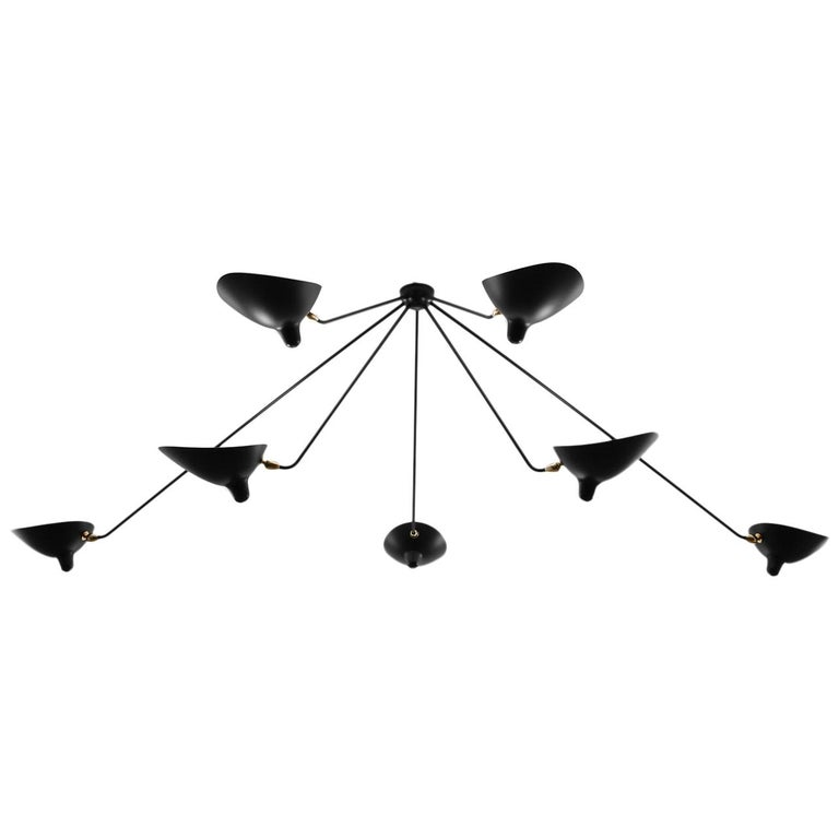 Serge Mouille Mid-Century Modern Black Seven Fixed Arms Spider Ceiling Lamp For Sale