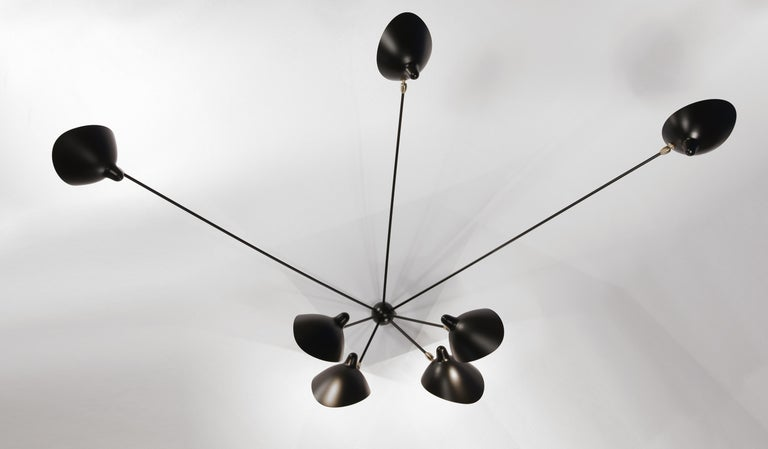 French Serge Mouille Mid-Century Modern Black Seven Fixed Arms Spider Wall Ceiling Lamp For Sale
