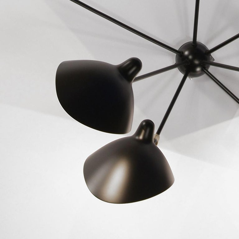 Serge Mouille Mid-Century Modern Black Seven Fixed Arms Spider Wall Ceiling Lamp For Sale 1