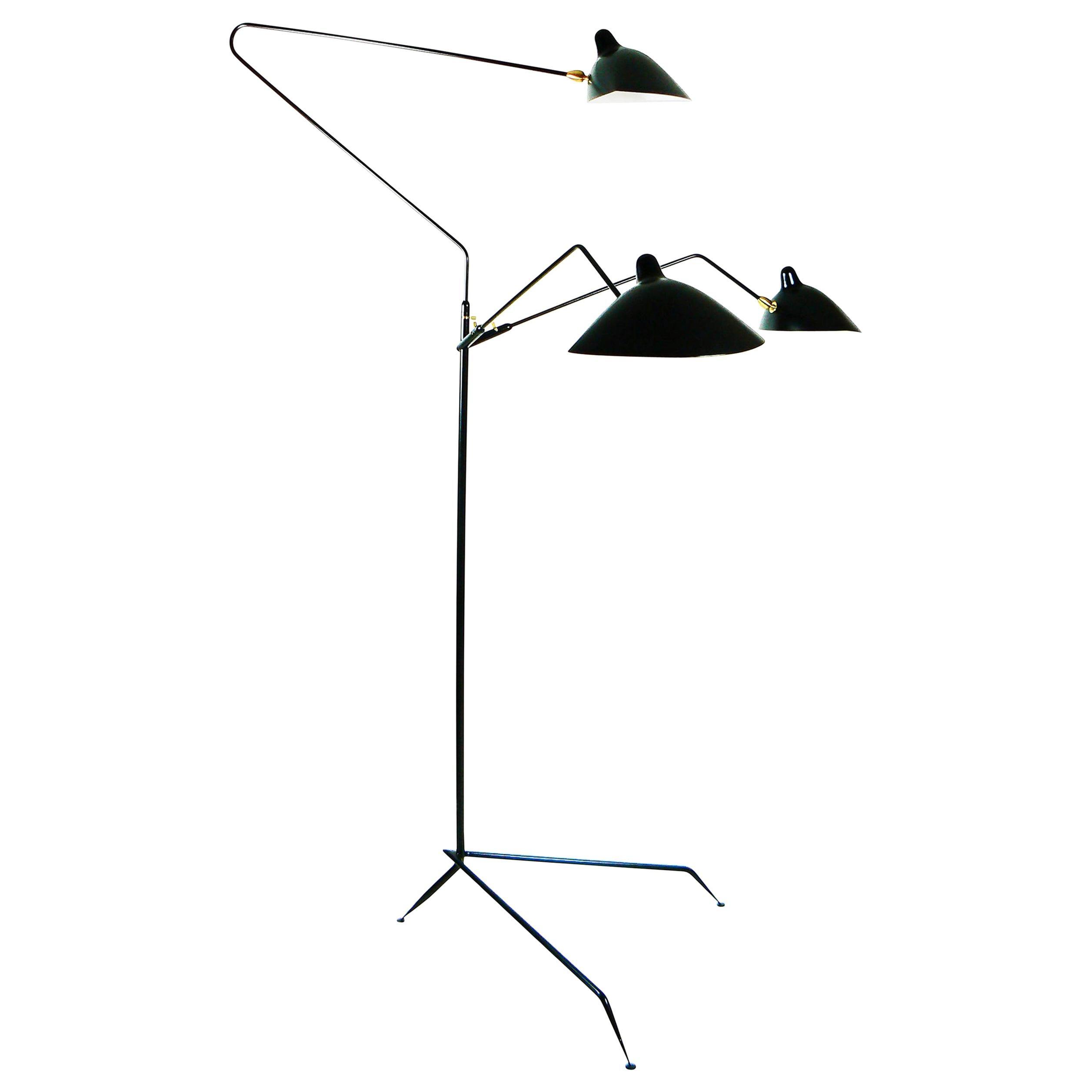 Serge Mouille Mid-Century Modern Black Three Rotating Arms Floor Lamp