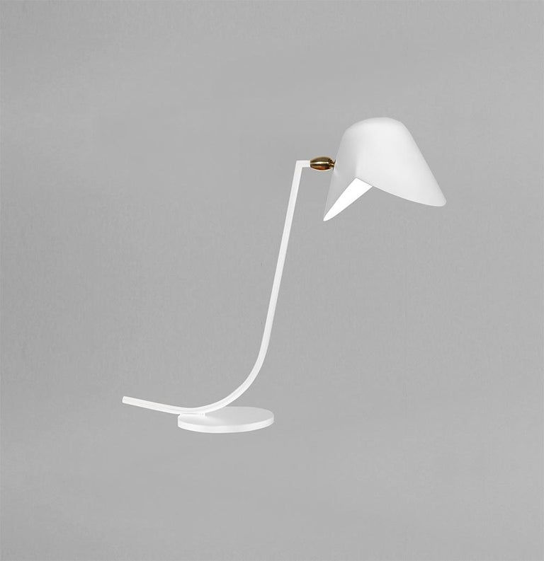 French Serge Mouille Mid-Century Modern White Antony Table Lamp For Sale