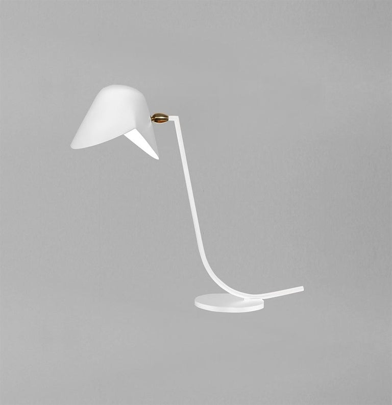 Contemporary Serge Mouille Mid-Century Modern White Antony Table Lamp For Sale