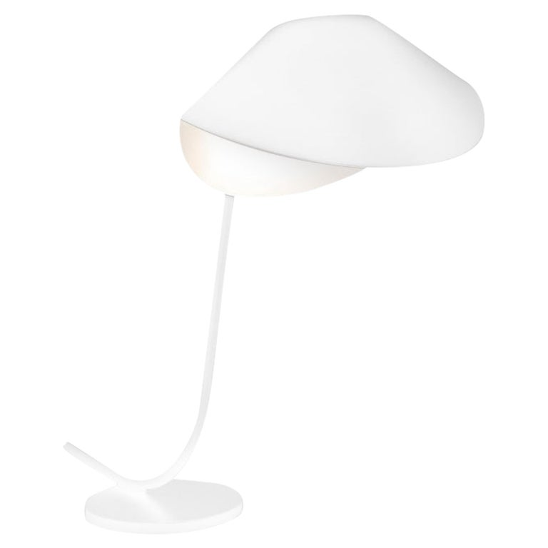 Serge Mouille Mid-Century Modern White Antony Table Lamp For Sale