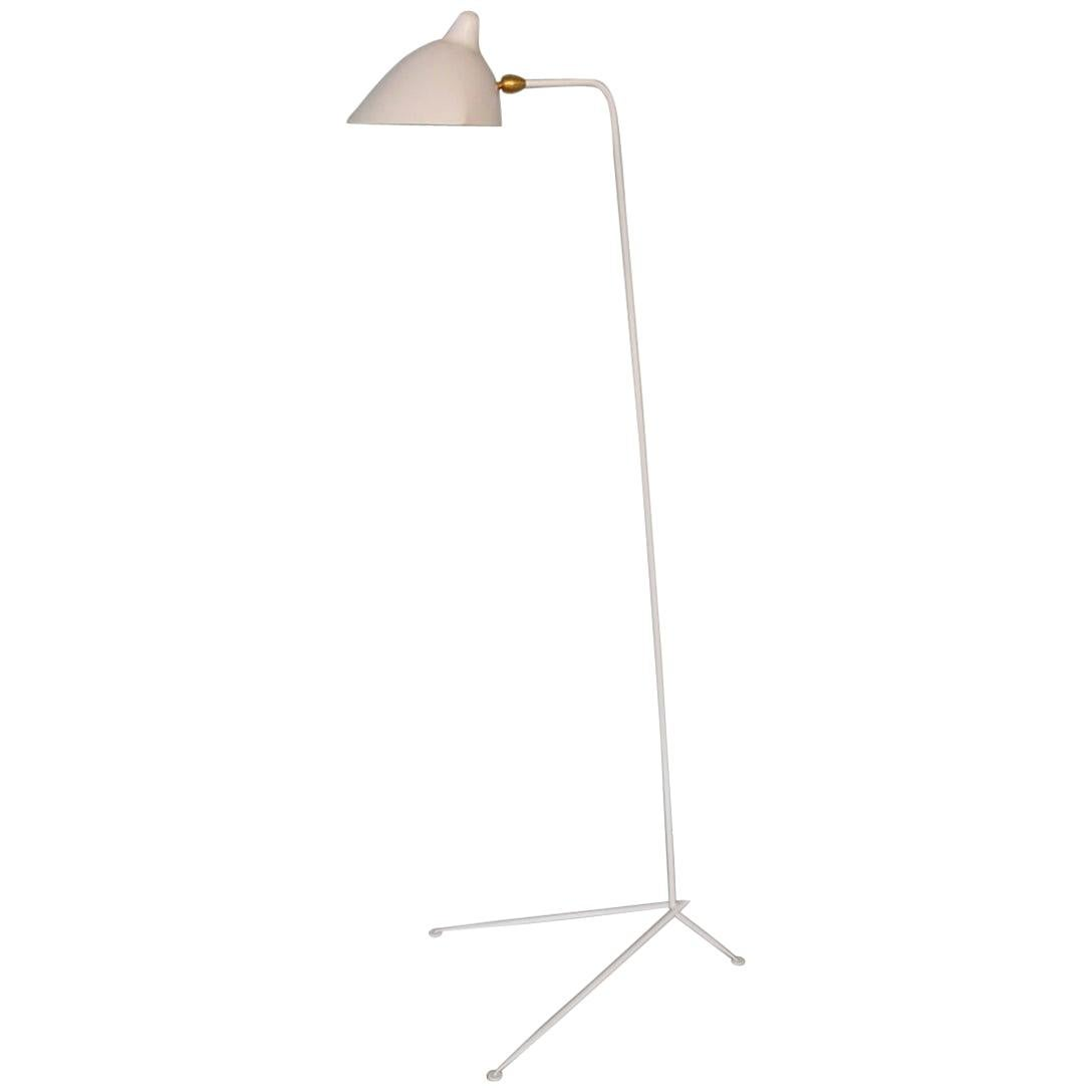 Serge Mouille Mid-Century Modern White One-Arm Standing Lamp