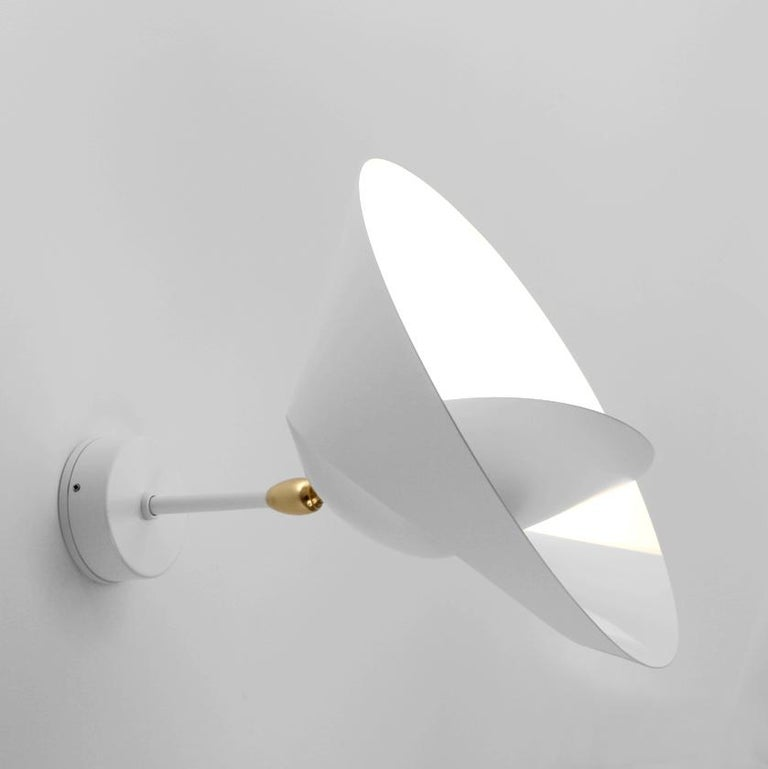 French Serge Mouille Mid-Century Modern White Saturn Wall Lamp For Sale