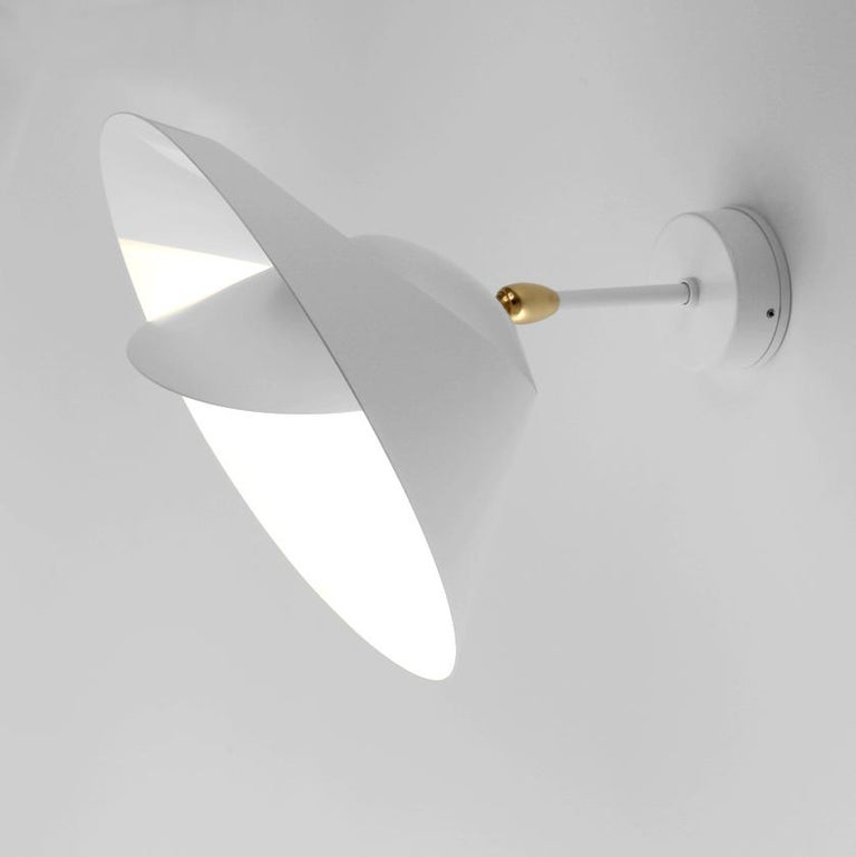 Serge Mouille Mid-Century Modern White Saturn Wall Lamp In New Condition For Sale In Barcelona, Barcelona