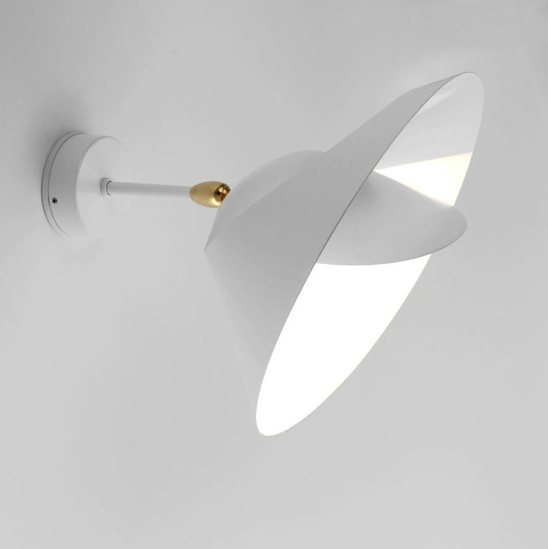 Contemporary Serge Mouille Mid-Century Modern White Saturn Wall Lamp For Sale