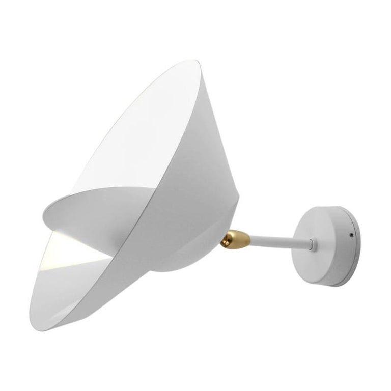 Serge Mouille Mid-Century Modern White Saturn Wall Lamp For Sale