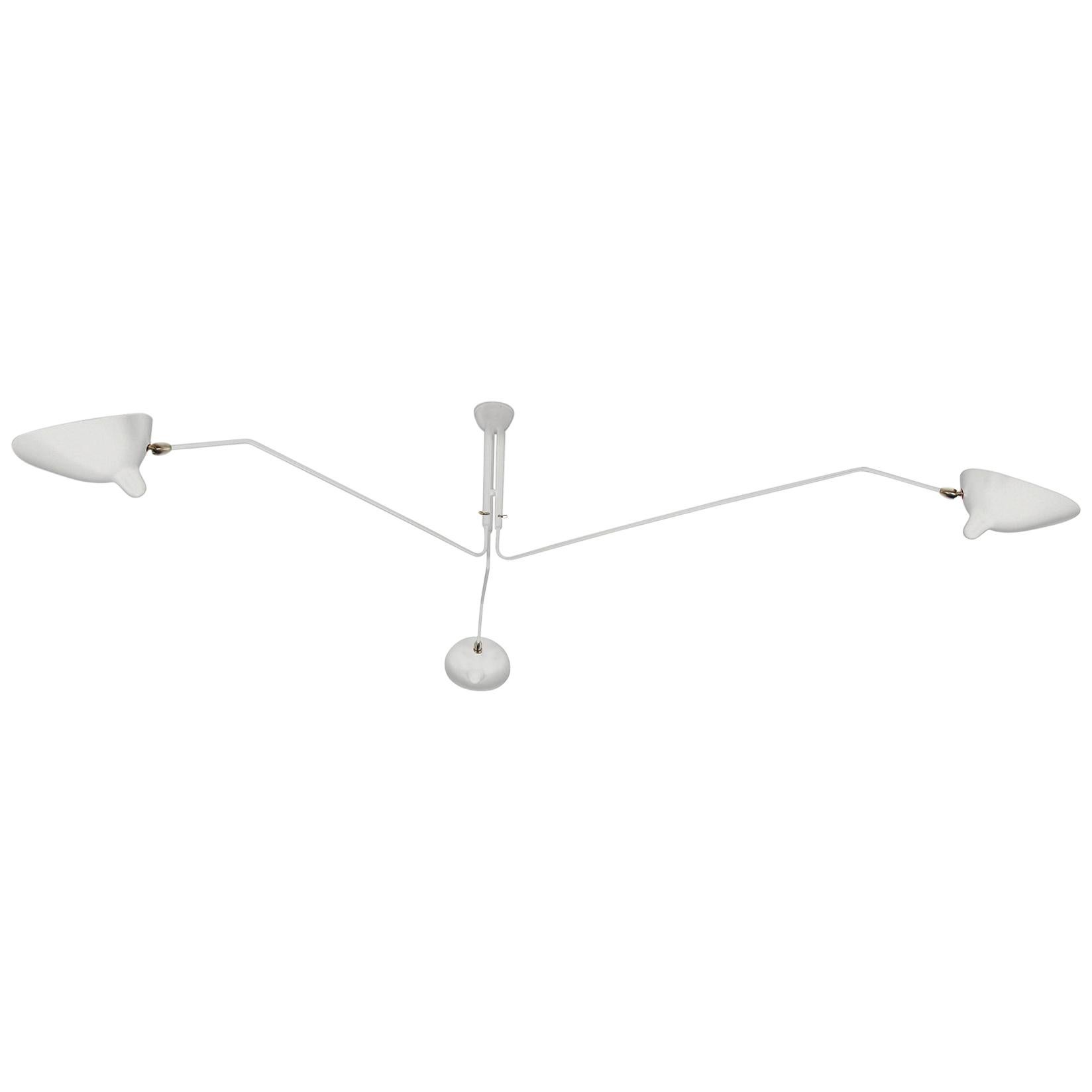 Serge Mouille Mid-Century Modern White Three Rotating Arms Ceiling Lamp